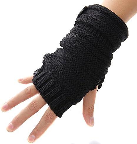 Handschuhe Armstulpen Pulswärmer Handstulpen Lang Strick Fingerlos schwarz