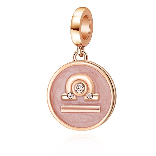 Rose Gold Zodiac Sign Charms 925 Sterling Silver Constellation Dangle Charm for European Bracelet (Libra)