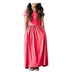 Amazon.com: Birdfly 3-9T Kid Girl O-Neck Summer Maxi Solid Color Ankle-Length Dress with Pockets On Sale (3T, Black): Clothing