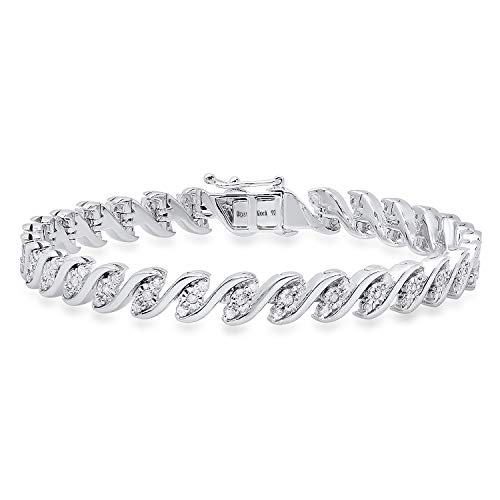 Dazzlingrock Collection 1.15 Carat (ctw) Round White Diamond Ladies Tennis Bracelet, Sterling ()
