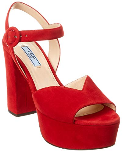 - Prada Suede Platform Sandal, 37.5, Red