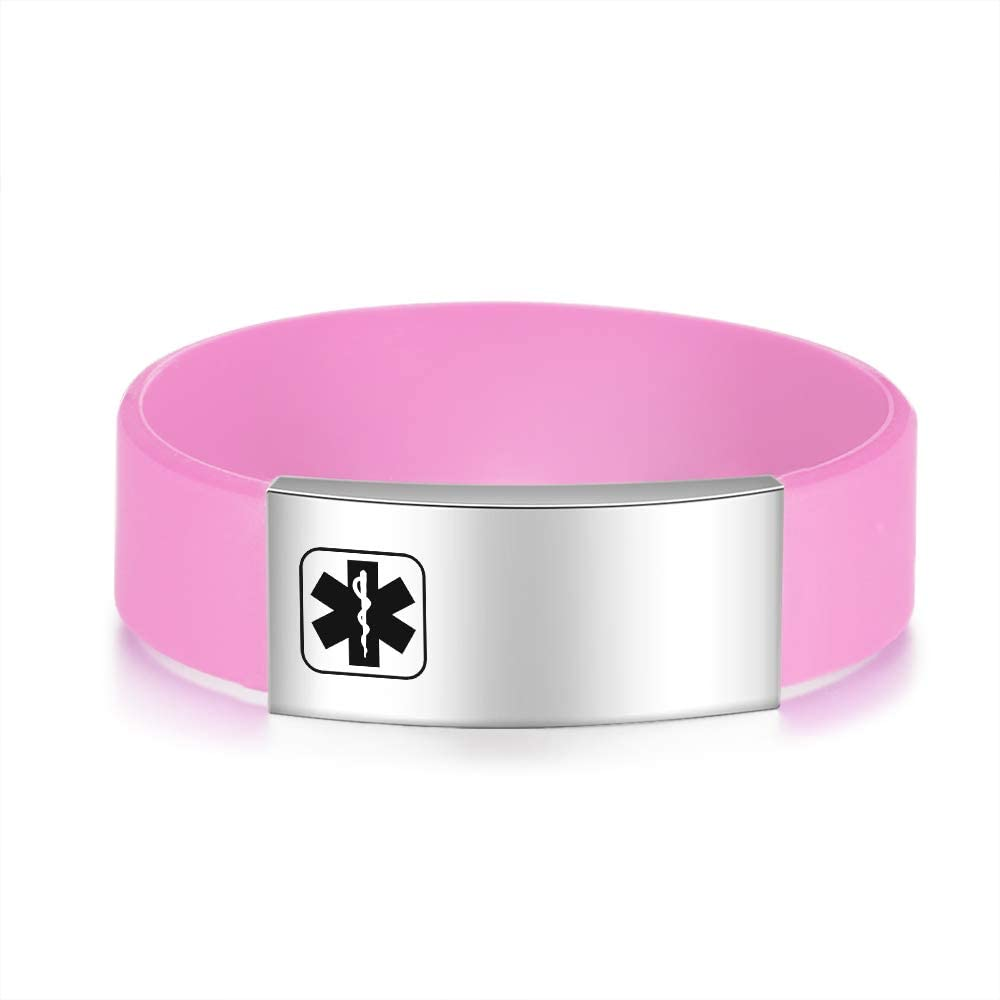 Personalized Medical Alert Bracelet for Women Men Professional Silicone Medical ID Bracelets Sport ID Bracelets with Free Engraving for Boy Girl Perimeter 5.5-7.5 Inch 5.5, Red