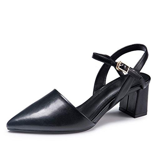 E Scarpe Sandali Alto 35 Nero Colore JIANXIN Primavera Parola dimensioni Donna L'estate Una Tacco Donna Vintage Fibbia Moda Da qxEAH