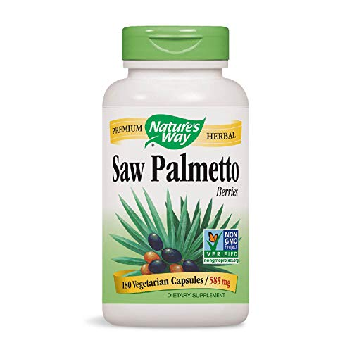 Nature's Way Saw Palmetto Berries; 585 mg; Non-GMO Project Verified; TRU-ID Certified; 180 Vcaps (Packaging May - 50 Caps 550 Mg