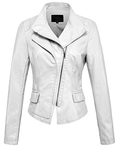(chouyatou Women's Stylish Oblique Zip Slim Faux Leather Biker Outerwear Jacket (Small, White))