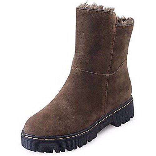ZHUDJ Damenschuhe Herbst Winter Snow Boots Flachem Absatz Runder Mid-Calf Stiefel Für Leichten Braun Schwarz Light Brown