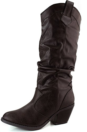 Cowboy Boot (6.5, Brown) (Boots Womens Leather Dress)