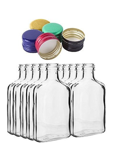 10 pocket flask bottles 100ml with color screw caps for wine, whisky or spirits Biowin