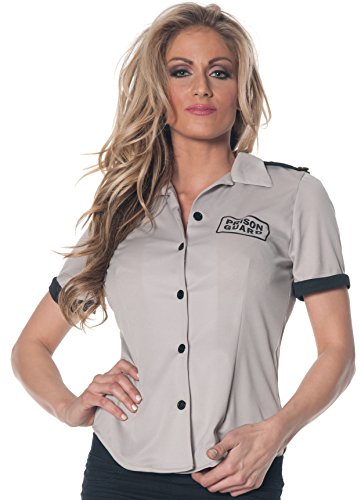 Underwraps Women's Prison Guard Fitted Shirt, Grey/Black, Large ()
