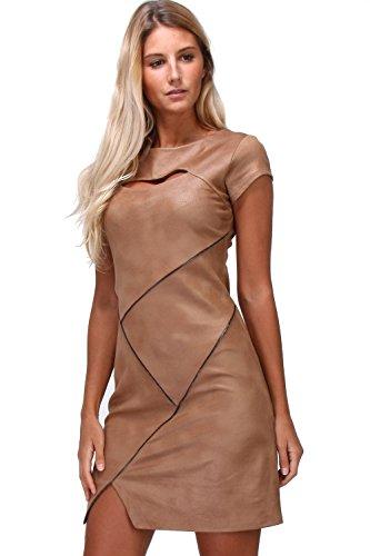 en Robe pour Femme Courtes col Simili Camel France in Rond Made Cuir Revdelle Manches 8PqRwd68x