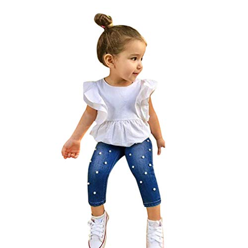 2Piece Toddler Kids Infant Baby Girl Outfits Set,Flounce Ruffle Sleeve Top T-Shirt Pearl Denim Pants Jeans Suit Fashion on Summer White ()