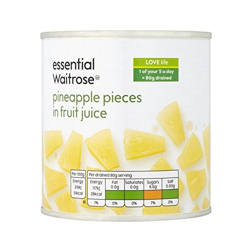 Pineapple Pieces in Fruit Juice essential Waitrose 425g - Pack of 4