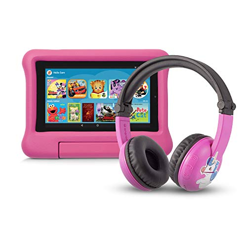 Fire 7 Kids Edition Tablet   7″ Display, 16 GB, Pink Kid-Proof Case + Made for Amazon Bluetooth BuddyPhones, PlayTime in Pink – Ages (3-7)