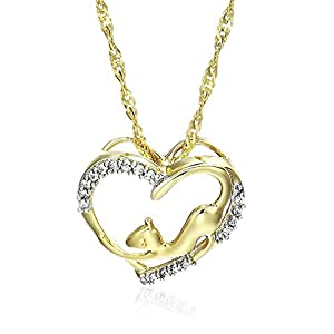 1/20 cttw Diamond Pet Heart Pendant In 14K Yellow Gold with 18 Inch Chain