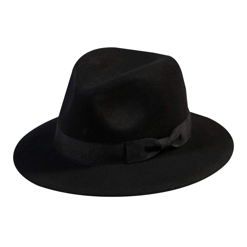 490848a9a Wool Fedora Hat-Women's Felt Floppy Panama Hats Vintage Classic Ladies Wide  Brim Cap's New Year Gift Decoration(Black)