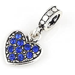 Charm Central Dark Blue Crystal Rhinestone Dangling Heart Charm Valentine's Day Gifts Idea - Fits Pandora Bracelets