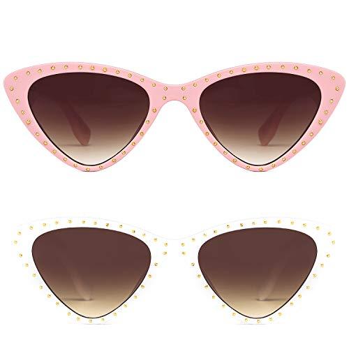 Cat Eye Sharp Corner Rhinestone Vintage Sunglasses for Women (2Pack-Pink/White)
