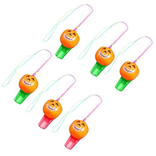 (BESTOYARD 6PCS Pumpkin Light up Whistle Necklaces Dance Party Halloween Party Supplies Noise Makers (Random)