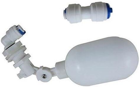 Malida Válvula de flotación de PVC de 1/4 Pulgadas, Montaje en Tanque, Brazo Ajustable, Kit de válvula Flotante, para Acuario de Peces, Cuenco de Agua