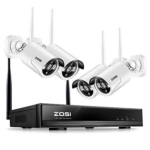 ZOSI Wireless Security Cameras System, 4CH 1080P HD WiFi NVR and 4pcs 100ft Night Vision 1.0MP 720P Indoor Outdoor Wireless CCTV Cameras, AUTO-PAIR, Smartphone Remote Access (NO Hard - Vision Wireless Night Outdoor