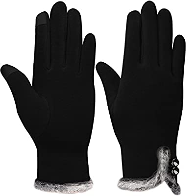 Women's Touch Screen Gloves, Warm Lined Winter Thick Gloves