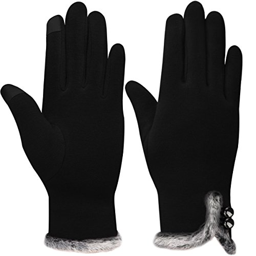 Women's Touch Screen Gloves, Warm Lined Winter Thick Gloves (Black) (Fleece Gloves Purpose)