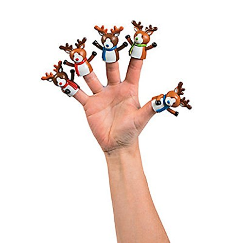 6 ~ Christmas Reindeer Finger Puppets ~ Approx. 2 Inch Vinyl ~ New by CusCus