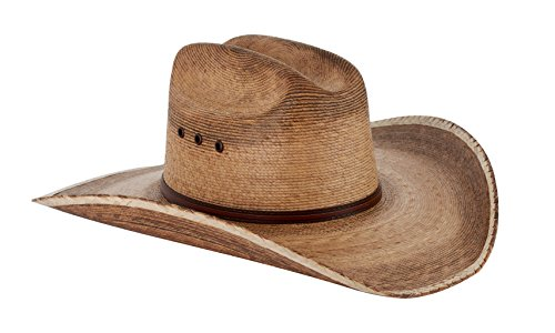 Western Cattleman Straw Cowboy Hat for Men- Large Size: 7 1/4-7 3/8 (23-23 3/8 inches) Light Brown Distressed Straw Cowboy Hat