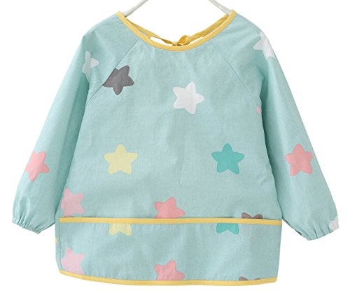 Sleeved Star (F&C Toddler Baby Waterproof Sleeved Bib With Catch-All Pocket (2T(80-90CM), Blue star))