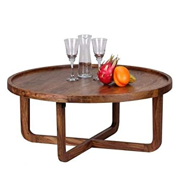 Wohnling Table Basse Bois De Sheesham Massif Rond 85 Cm Table De