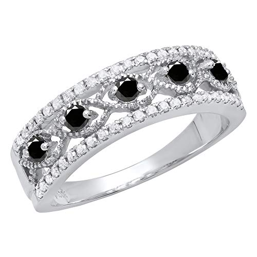 Dazzlingrock Collection 0.52 Carat (ctw) Sterling Silver Round Black & White Diamond Ladies Wedding Band 1/2 CT, Size 8 ()