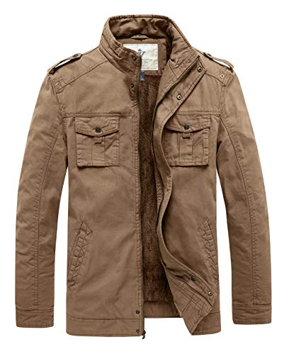 Jackets Style Men - WenVen Men's Winter Warm Military Style Buttons Jacket Twill Cotton Stand Collar Thicken Jacket(Khaki,2XL)