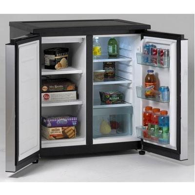 - AVANTI, 5.5 CF Side by Side Refrigerator/Freezer, Black/Stainless Steel