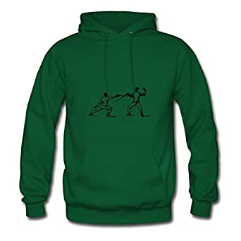 X-large Green Round-collar Puzzle Fencing Practice Hoody By Sarahdiaz - Women