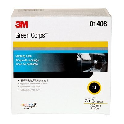 3M (264F) Disc, 01408, 3 in, 24YF, 25 discs per box [You are purchasing the Min order quantity which is 1 Box] by Green Corps