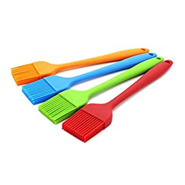 WARMBUY Set of 4 Silicone Pastry Basting Grill Barbecue Brush, Solid Core and Hygienic Solid Coating, Red, Blue, Orange, Green, 8-3/4 Inch Long 55 Made of FDA silicone with a steel core inside and BPA free - there is nothing to break so the bristle head can't fall off.Stiffness for the handle is provided by a rod molded inside the handle. ONE piece of silicone design - NO crevices where oil or egg white or barbecue sauce or whatever can seep in & be trapped to breed germs. Makes it VERY easy to clean. It has 4 rows of 13 bristles each for a total of 52 bristles.So it will soak up & hold a lot more of whatever you're brushing or basting onto your food.