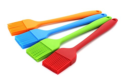 Zicome Set of 4 Silicone Pastry Basting Grill Barbecue Brush - Solid Core and Hygienic Solid Coating - 4 Bright Colored Red, Blue, Orange, Green - 8-3/4 Inch Long -