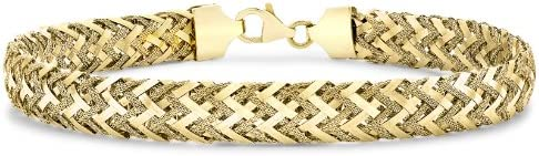 Carissima Gold 9ct Yellow Gold Women's Textured Woven Bracelet of 19cm/7.5""