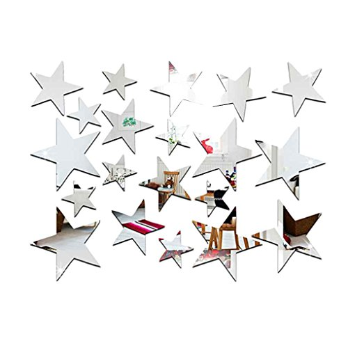 - Boyouu 20pcs/Set Star Shape Mirror Stickers 3D Acrylic Stars Mirrored Decals DIY Room Home Decoration Wallpaper