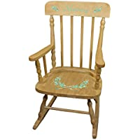 Personalized Golden Mint Vintage Garland Wooden Childrens Rocking Chair