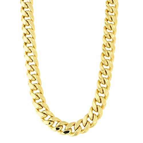 Men's 14k Yellow Gold 8.5 Millimeter Classic Miami Cuban Link Chain Necklace Box Clasp, 24 Inches ()