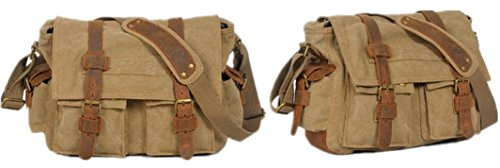 (Kamabags Vintage Canvas Military Tactical Ammo Style Shoulder Messenger Field Bag (Brown))