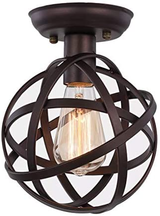 Amazon Com Globe Ceiling Light Fixture Seeblen Semi Flush Mount Ceiling Light With Mini Metal Cage Hanging Light Fixture For Foyer Hallway Stairway Porch Bedroom Kitchen Farmhouse Home Improvement