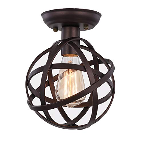 Metal Globe Ceiling Light SEEBLEN Semi-Flush Mount Pendant Ceiling Light with Mini Metal Cage Ceiling Lighting Fixture for Foyer ...