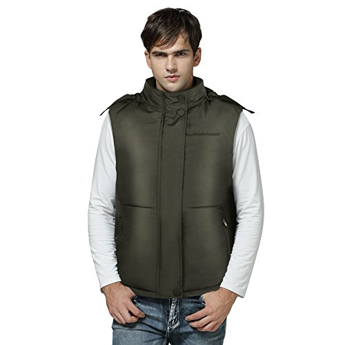 Cold Weather Rechargeable Heated Down Vest with Detachable Hood (Olive Green, Men / L)