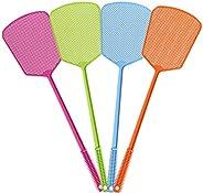 Bonwuno 10 unidades de mata-moscas multicores de plástico com alça longa e durável, apanhador de moscas para m