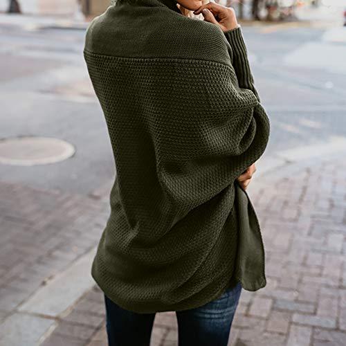 Mujeres Hombro otoño Abrigos SHOBDW de Manga de del Invierno del Tops suéter Largos Larga Sueltas Fuera Verde Punto suéter Ocasional drxUax
