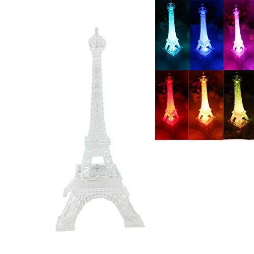 DreamsEden 3 LEDs Light Up Eiffel Tower Lamp - Color Changing Paris Decor for Bedroom Desk Cake Topper Centerpiece, 9.8 Inch Height