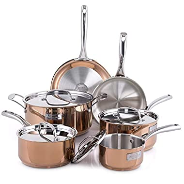 Fleischer & Wolf Stainless Steel Cookware Set (10-Piece) - Copper Trim + Satin Body Cuisine Set-Oven and Grill safe Kitchen Pots and Pans Set - Dishwasher Safe