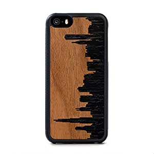 Carved Chicago Skyline Inlay iPhone SE Traveler Wood Case - Black Protective Bumper with Real All Wooden Cover